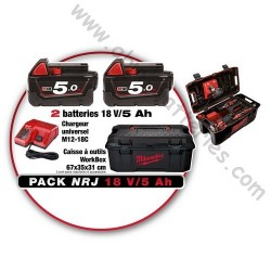 Pack NRJ Milwaukee de 2 batteries 18V / 5 Ah