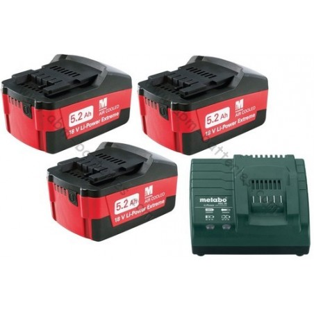 METABO PACK DE 3 BATTERIES CHARGEUR 5.2 Ah